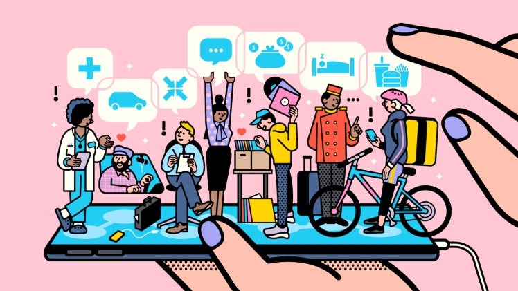 Standing on a mobile phone, a row of characters representing various social platform-based services (medical, rideshare, wellness, messaging, e-commerce, lodging, and food delivery) chat and exchange data freely between each other.