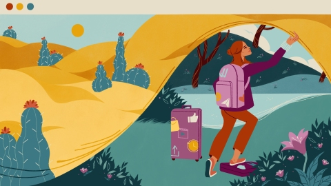 An illustration showing a woman carrying luggage bearing app UI badges exchanging a desert landscape by lifting screen that allows her to take her things to a new, green landscape.