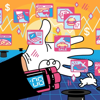An outstretched arm and hand with a ticking bomb in its sleeve extends across a scene of pop-up ads, financial tickers, and rabbits jumping in and out of magic hats.