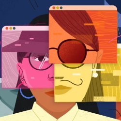 A woman's face is segmented by different colored web browsers that show different anonymizing, irregular, and contrasting elements: sunglasses in one, a hat in another, a thin mustache in another, creating a mosaic disguise.