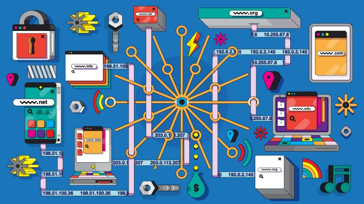 An illustration of the Domain Name System shows an array of devices connecting to one another along newtork pathways that show web addresses being translated into IP addresses as they connect via the DNS.